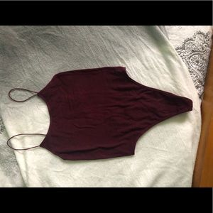 Burgundy Spandex Bodysuit